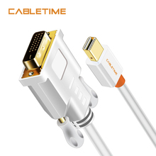 CABLETIME Thunderbolt Mini Displayport Mini DP to DVI Cable Converter for MacBook Pro AiMini TV Laptop Projector Adapter N014