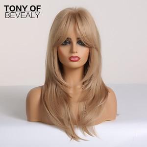 Image 2 - Peruki syntetyczne długie faliste warstwowe fryzury blond pełne peruki z grzywką dla kobiet naturalne codzienne włókno termoodporne peruki do włosów