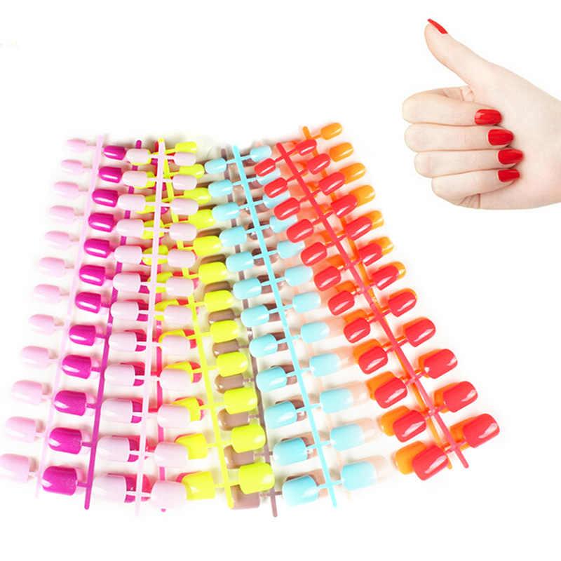 31 لون 24 قطعة الأظافر كاذبة قصيرة الأظافر وهمية ABS الاصطناعي إصبع نصائح اضغط على قصيرة مستديرة مسمار الفن زينة مصنوعة