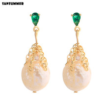 New Hot Fashion Baroque Freshwater Pearl Green Zircon Pendant Boho Vintage Style Gorgeous Party Charm Earrings For Women Jewelry