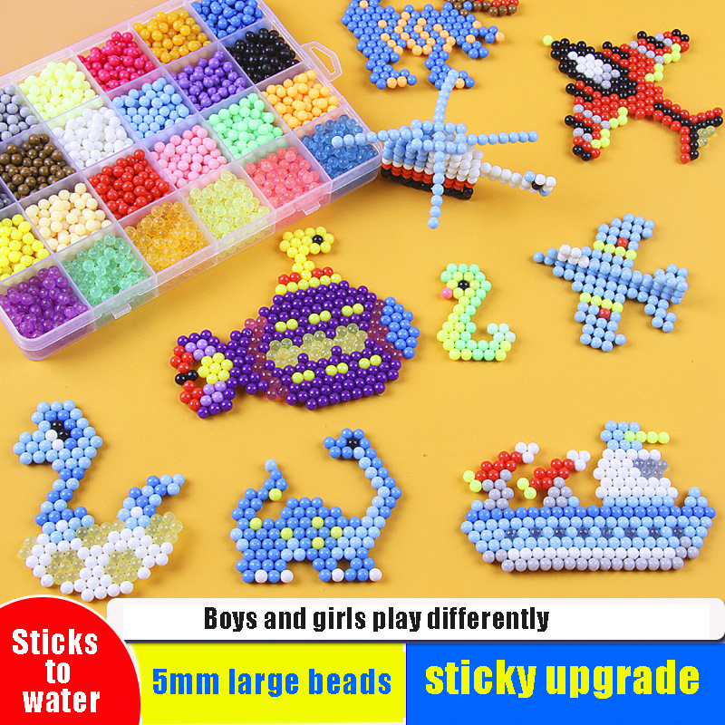 24Colors 3000Pcs Water Spray Beads DIY Puzzles Toy Crafts For Kids Polymer Sprinkles Water Magic Beads Educational Toys Bead Kit