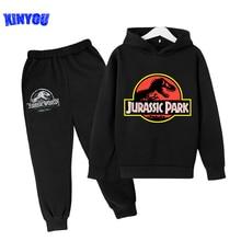 2021 Jurassic Park World Dinosaur 3D Print Tiny Cotton Hoodies For Boys and girls Hiphop Sweatshirt Children Set Clothes Top Tee
