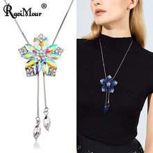 Crystal Flower Silver Long Chain Pendants Necklaces For Women Fashion Sweater Choker Statement Jewelry Rhinestone Collier Femme(China)