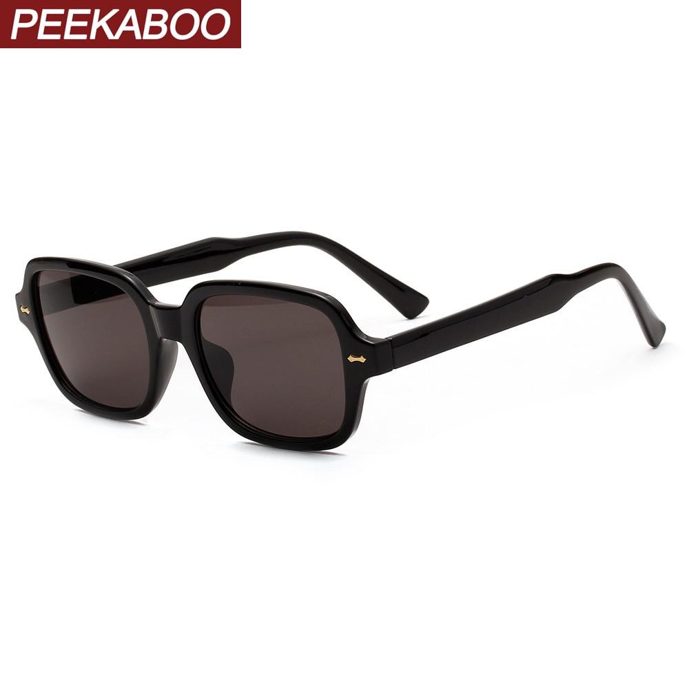 Peekaboo Retro Square Sunglasses For Women Rivet Korean Style 2020 Summer Black Small Sun Glasses For Men Cheap Drop Ship