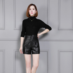 New Brand Women Genuine Leather Sheepskin Shorts Slim Fit Wrap Real Leather Solid Black High Waist Streetweat Sashes Lady Shorts