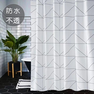 Image 2 - Fashion White Grid Print Blinds Curtains For Bathroom Variety Size Polyester Bath Curtain  Waterproof Shower Curtains Home Decor