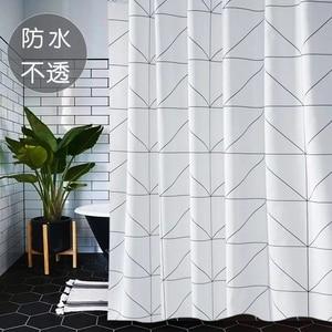 Image 2 - Mode Weiß Grid Print Jalousien Vorhänge Für Bad Vielzahl Größe Polyester Bad Vorhang Wasserdicht Dusche Vorhänge Wohnkultur