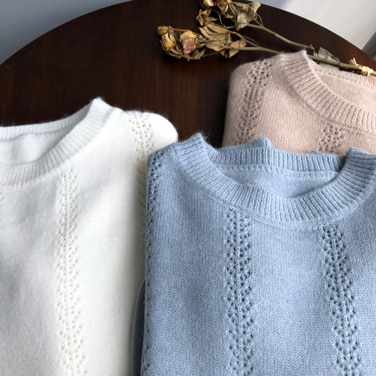 Mooirue Winter 2019 Femme Sweet Knitted Sweater Knitting Thick Slim Sweater Feminine Blue Grey Pullover in Pullovers from Women 39 s Clothing
