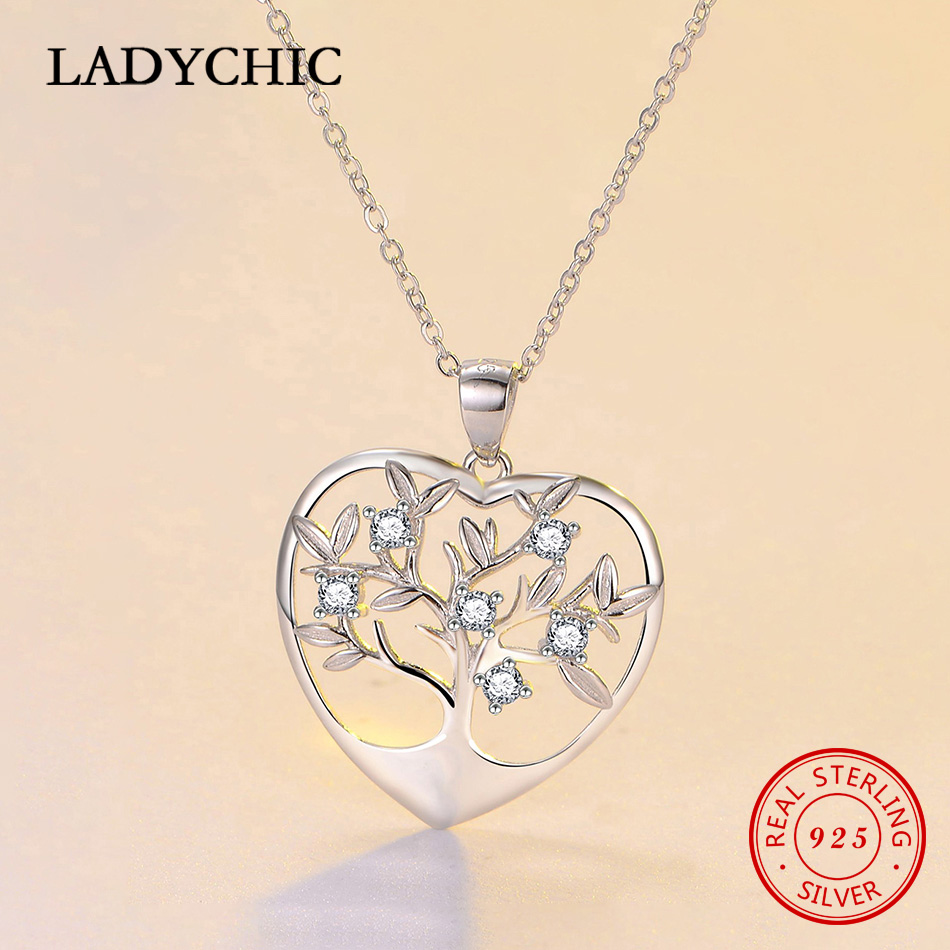 LADYCHIC Romantic 925 Sterling Silver Tree of Life Love Heart Pendant Necklaces for Women Fine Jewelry Valentine's Gift LNS1048