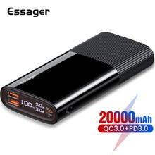 Essager batterie externe 20000 mAh PD QC 3.0 chargeur de batterie externe USB Type C Powerbank 20000 mAh batterie pauvre pour Xiaomi mi iPhone