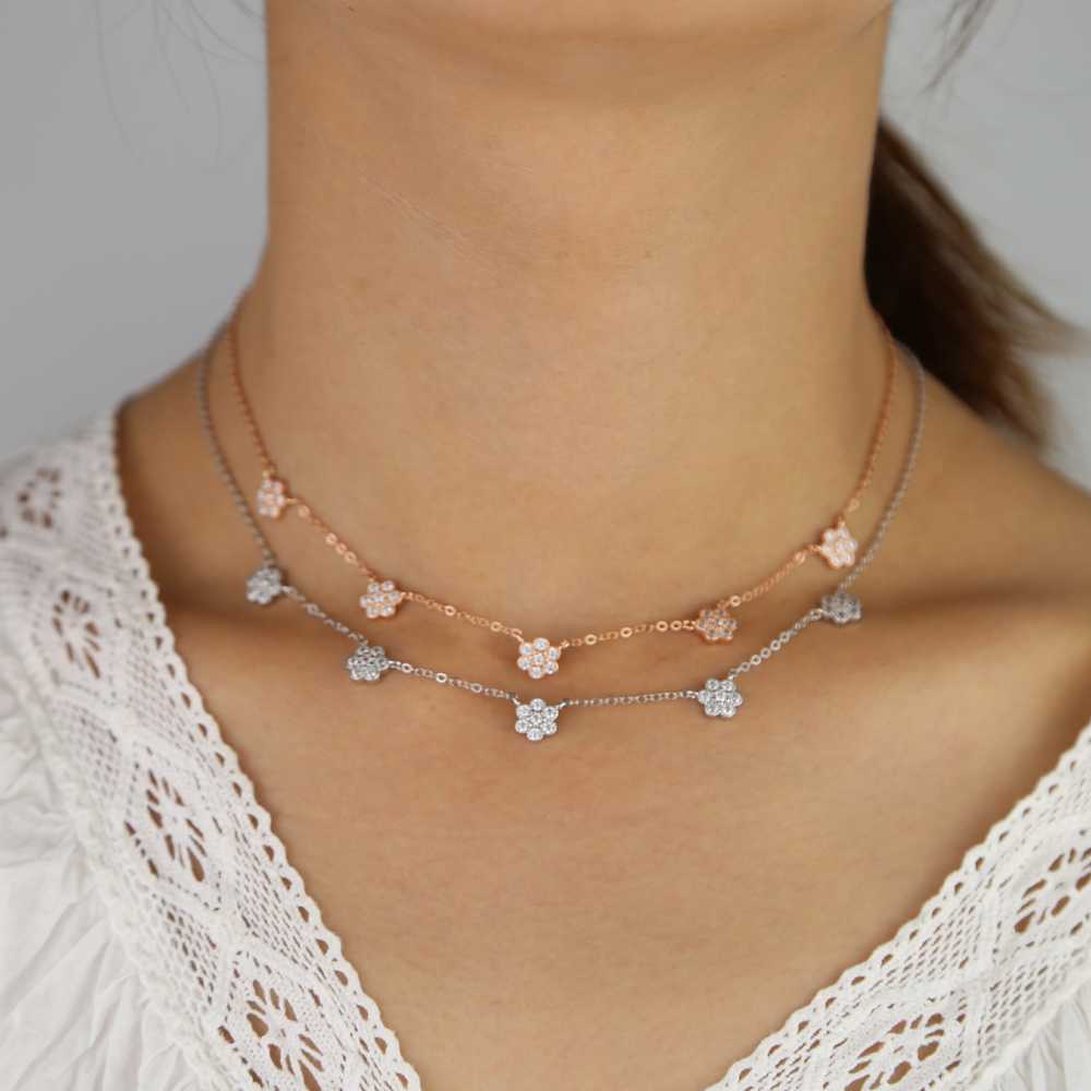 100% real 925 sterling silver multi flower charm pendant choker necklace with cz paved wedding short necklace wedding jewelry