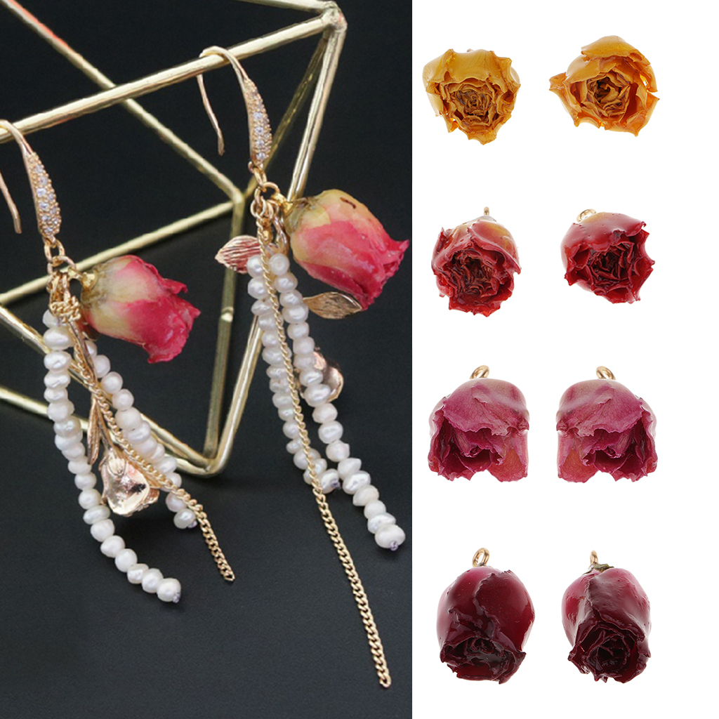 2 Pieces Dried Rose Flowers Charms With Liquid Resin Covered And Loop For DIY Earrings Pendant Jewelry Making Findings