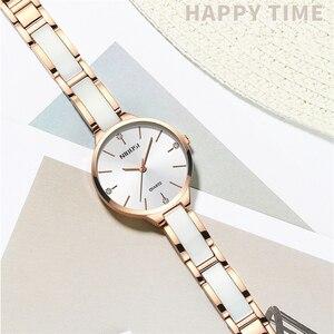 Image 4 - 2020 NIBOSI Uhr Luxus Frauen Uhr Damen Kreative frauen Keramik Armband Uhren Weiblichen Uhr Montre Femme Relogio Feminino