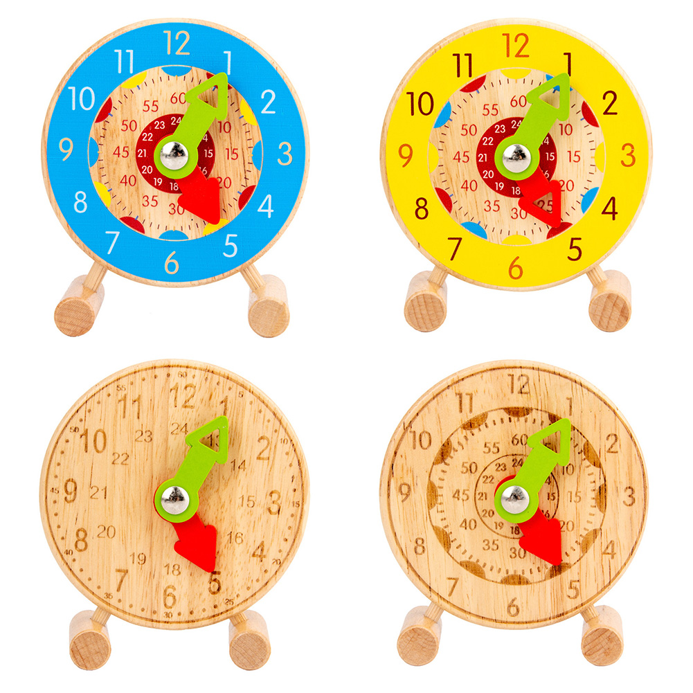 Children Montessori Wooden Clock Toys Hour Minute Second Cognition for Kids