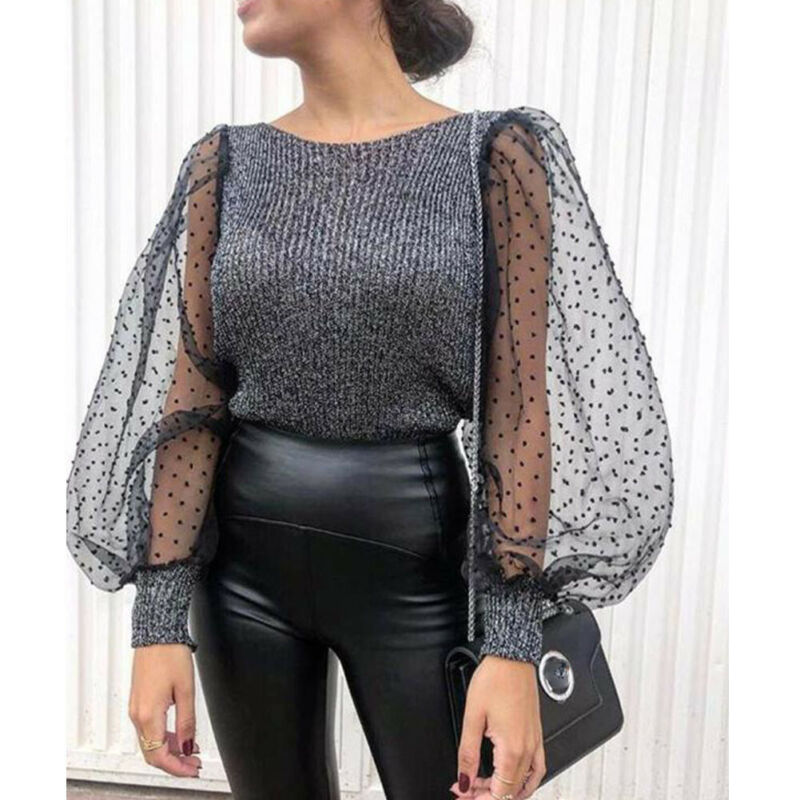 Elegant Sexy Women Polka Dot See-through Sheer Lace Long Puff Sleeve Knitted Tops Club Shirts Blouse Tops