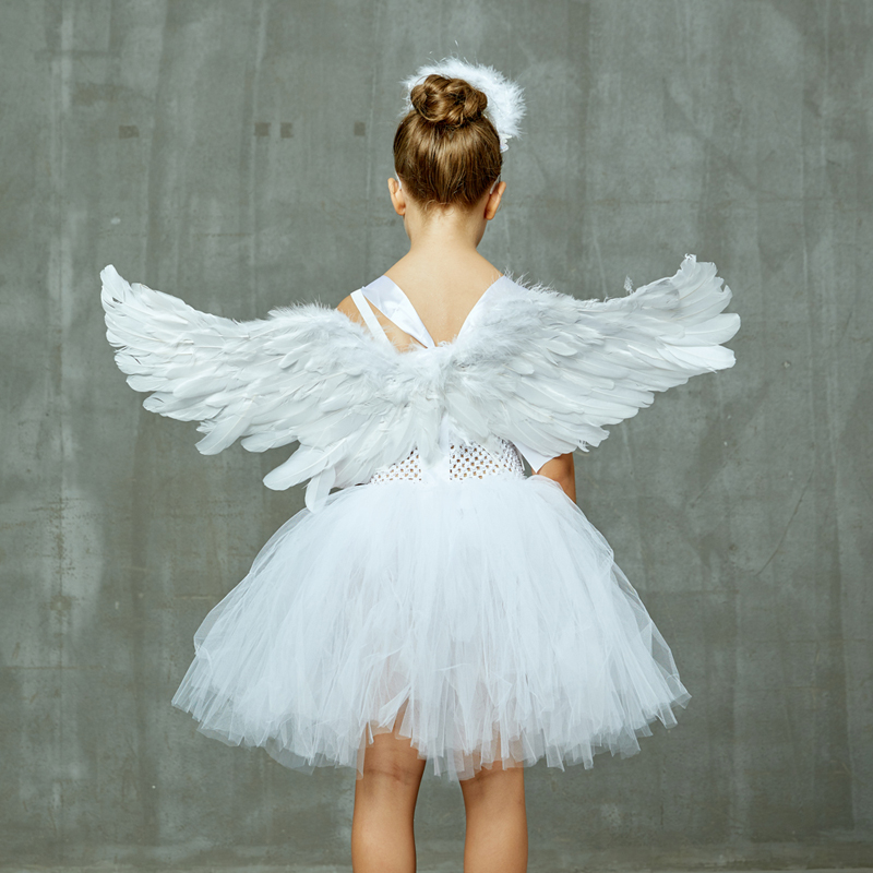 Guardian Angel Kids Halloween Costume White Feather Angel Girls Tutu Dress with Wings & Halo Christmas Nativity Gabriel Clothes (18)