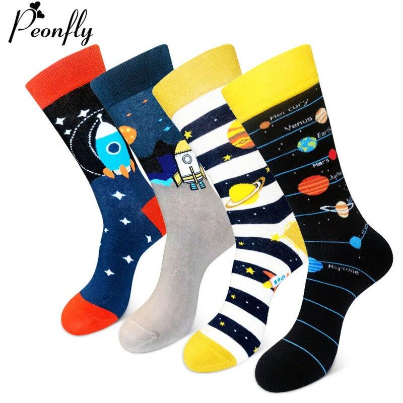 PEONFLY Cute Cartoon Space Socks Men Cotton Alien Planet Star Pattern Cotton Socks Harajuku Creative Funny Happy Socks