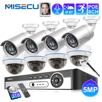 MISECU 8CH 5MP HD POE NVR Kit CCTV System Audio IP Camera IR Cut Outdoor Indoor P2P Video Security Surveillance Set 3TB HDD face recognition 8ch poe network nvr cctv system kit hd 5mp ip camera ir ip66 outdoor waterproof video security surveillance set