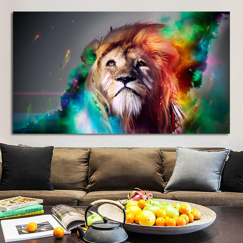 Originality Poster Coloured Drawing Or Pattern Lion Animal Canvas Painting Nothing Framed Home Furnishing Living Room Posters image