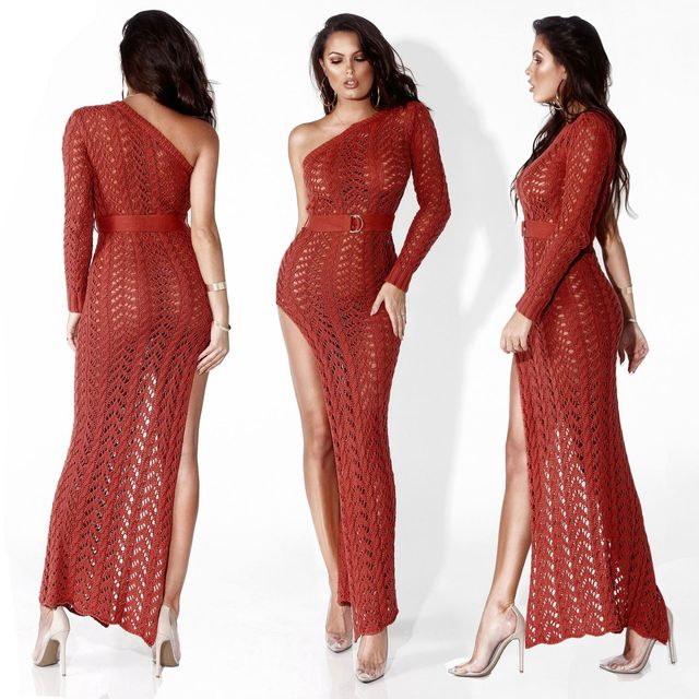 Hollowed-out knit beach dress sexy one-shouldered long-sleeved high-slit tight club party dress 5