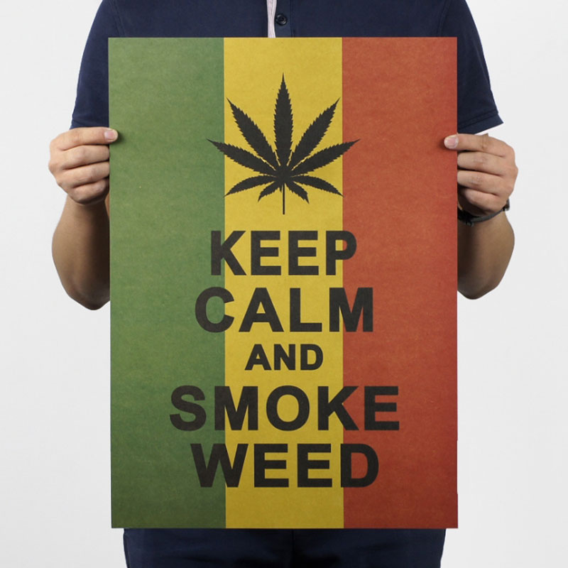 AIMEER Keep Calm And Smoke Weed Jamaica reggae style vintage kraft paper poster bar home decoration painting 51x36cm