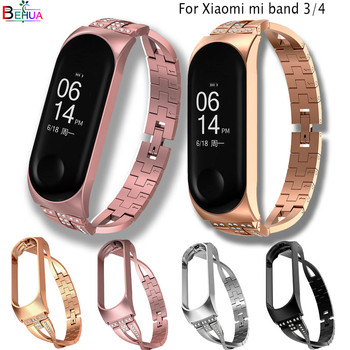 new Mi Band 4 Replacement luxury smart watch band Wrist Strap Stainless Steel Bracelet Wristbands MiBand 3 /4 band +Metal Case