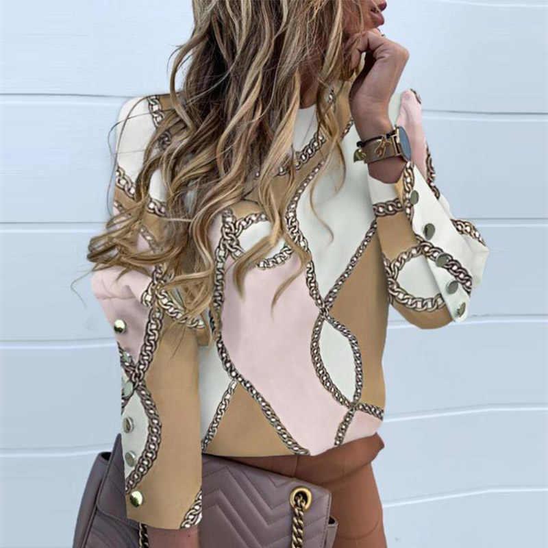Элегантная Новая блузка с пышными плечами, рубашки для офисных леди, Осенние блузки с металлическими пуговицами, женские топы с длинными рукавами и принтом ананаса