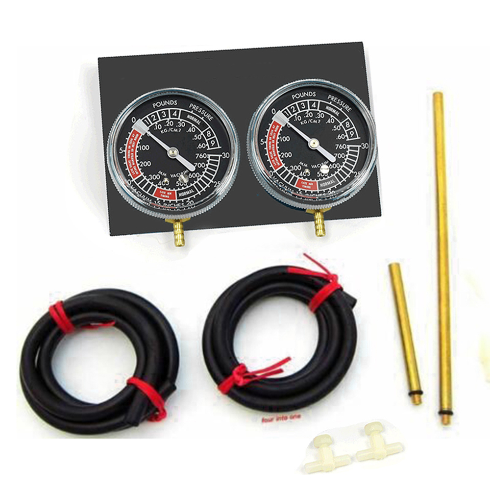 Universal Motorcycle Carb Carburetor Fuel Vacuum Balancer Gauge Sync Gauge 2-Carb Fuel Supply System With Hose Kit Carb Sync