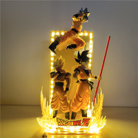 Janpanese Anime Dragon Ball Super Goku Figurine LED Lampara Dragon Ball Z Ultra Instinct Goku Evolution PVC Model Toys Figura