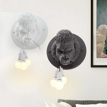 Lámparas de pared de resina Gorilla modernas lámpara de pared Led nórdico lámpara de cocina hogar desván decoración Industrial pared Vintage luminaria E27 * 3(China)