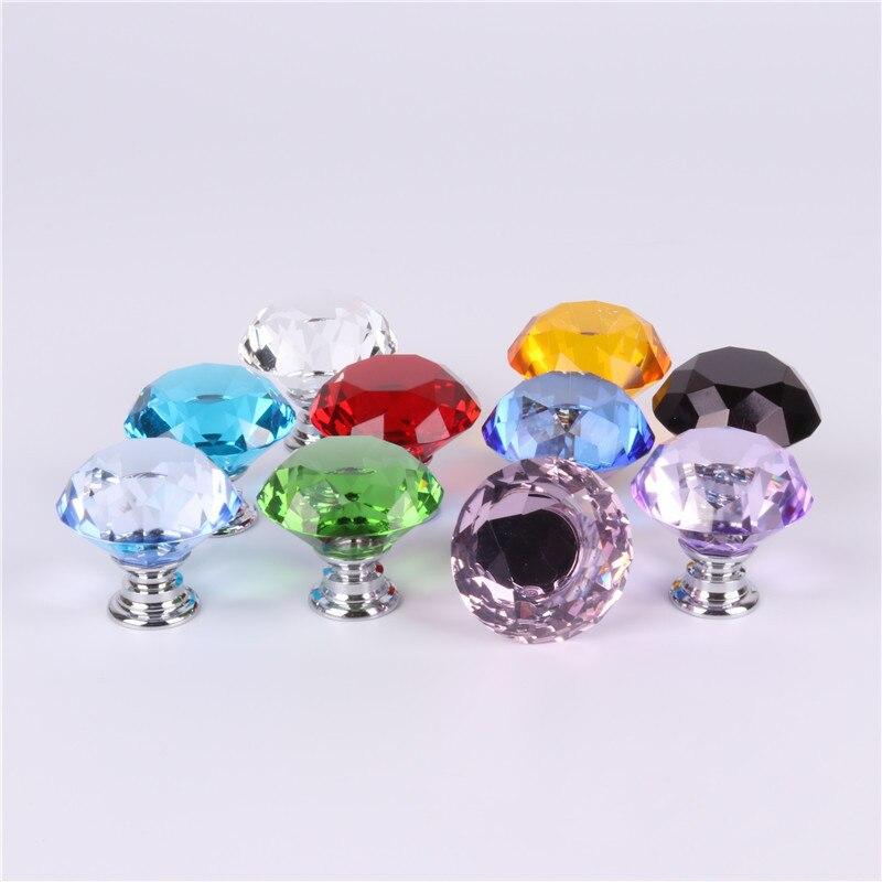 30mm Diamond Shape Design Crystal Glass Knobs Cupboard Pulls Drawer Knobs Kitchen Cabinet Handles Furniture Handle Hardware