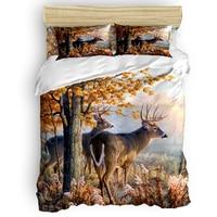 Animal Duvet Cover Forest Elk Bedding Set Maple Pattern Bedding Set 4 Pcs Luxury Comforter Bedding Sets