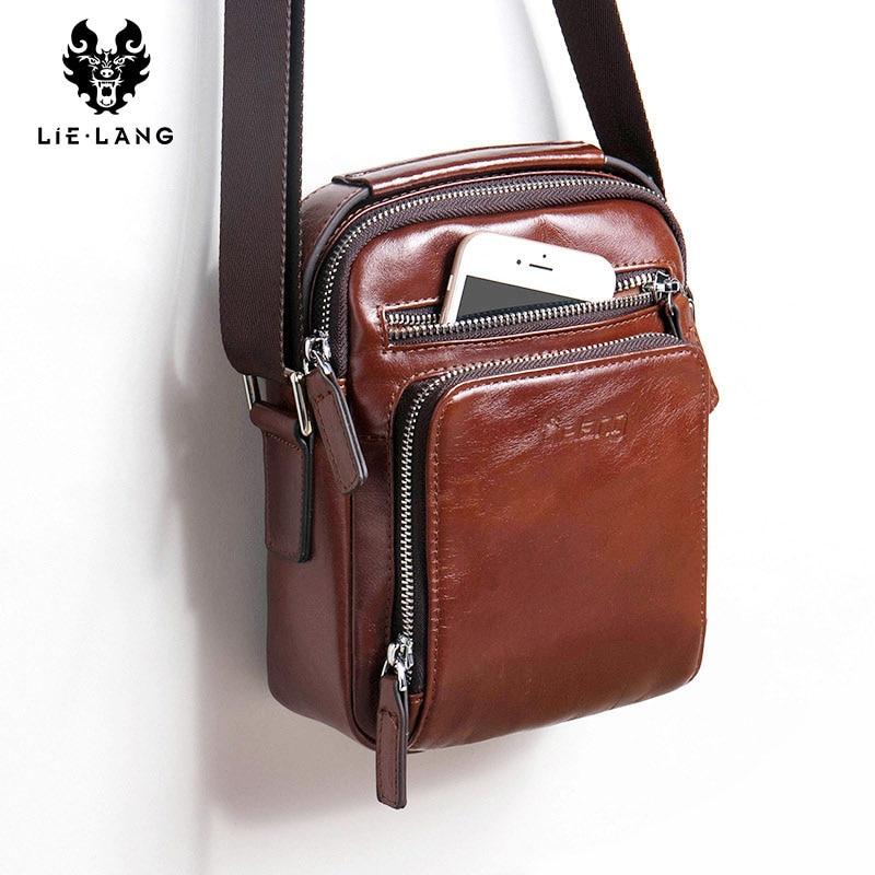 Men Bag Crossbody Bag 100%genuine Leather Messenger Bag Men Shoulder Brown Bag Handbag Crossbody Vintage Cowhide Travel Male Bag