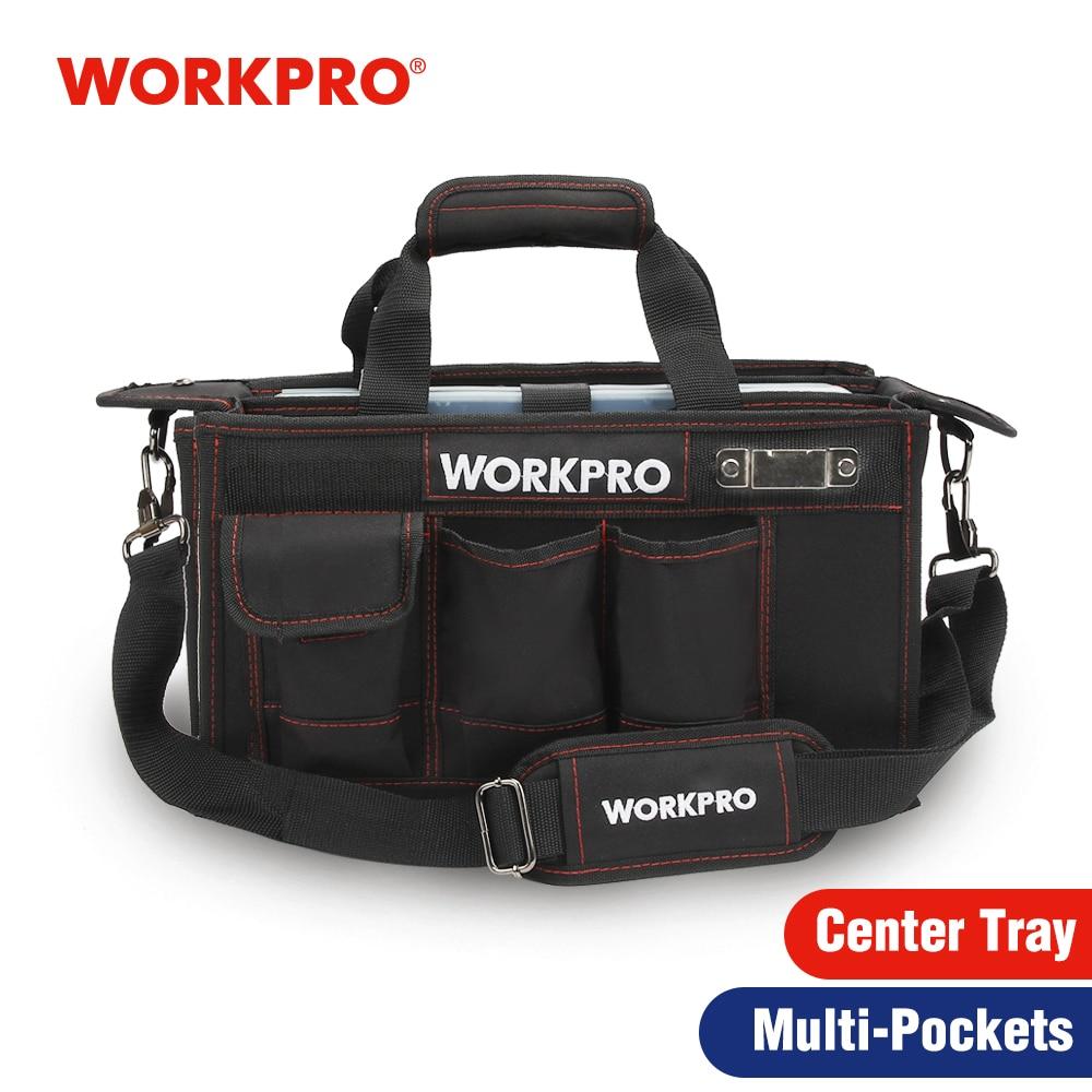 WORKPRO 600Dショルダーツールバッグ(センタートレイ付き)防水ツールキットバッグエレクトリックバッグ用ポケット