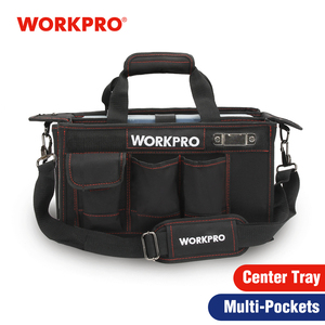 Image 1 - WORKPRO 600D Shoulder Tool Bag with Center Tray Waterproof Tool Kits Bags Pockets for Electrican Bags