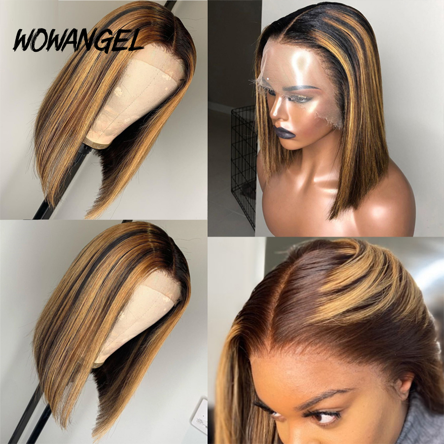 WOWANGEL 13x6 Highlight Wig Ombre Brown Honey Blonde Short Bob Wigs Transparent Lace Front Wig Colored Human Hair Wigs