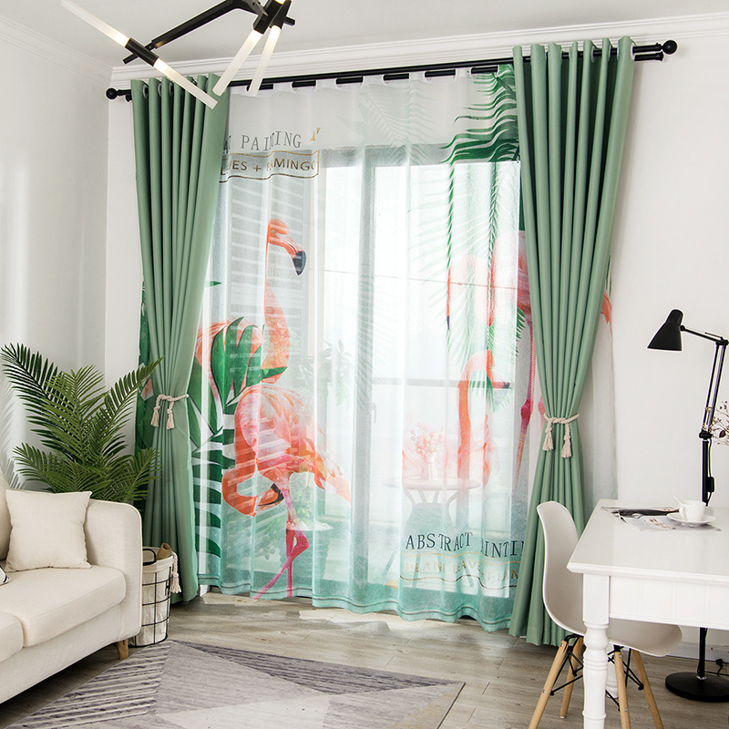 US $13.02 38% OFF Quality Assurance of Green Leaf Flamingo Curtain Curtains  for Bedroom Living Room Curtains Blackout Curtains-in Curtains from Home &  ...