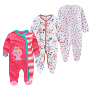 0-12Months Baby Rompers Newborn Girls&Boys 100%Cotton Clothes of Long Sheeve 1/2/3Piece Infant Clothing Pajamas Overalls Cheap - baby romper15, 6M