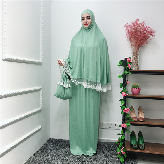 Women's Prayer Garment Muslim Clothing 2 Piece Lace Hijabs Dress Abaya Bat Robe Ramadan Islamic Dubai Arab Gown Praying Kaftan