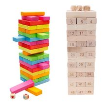 Educational toys Timber Tower Wood Block Stacking Game - Number Match Playset (48 Pieces)  R9UE educational game natural wood 1 5 x 18 x 41 cm 104 pieces