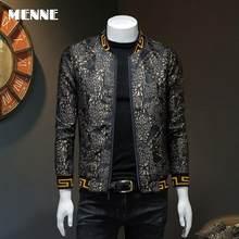MENNE 2021 men jacket Casual baseball collar spring /autumn jacket men Golden braided geometric figures jacket for men style