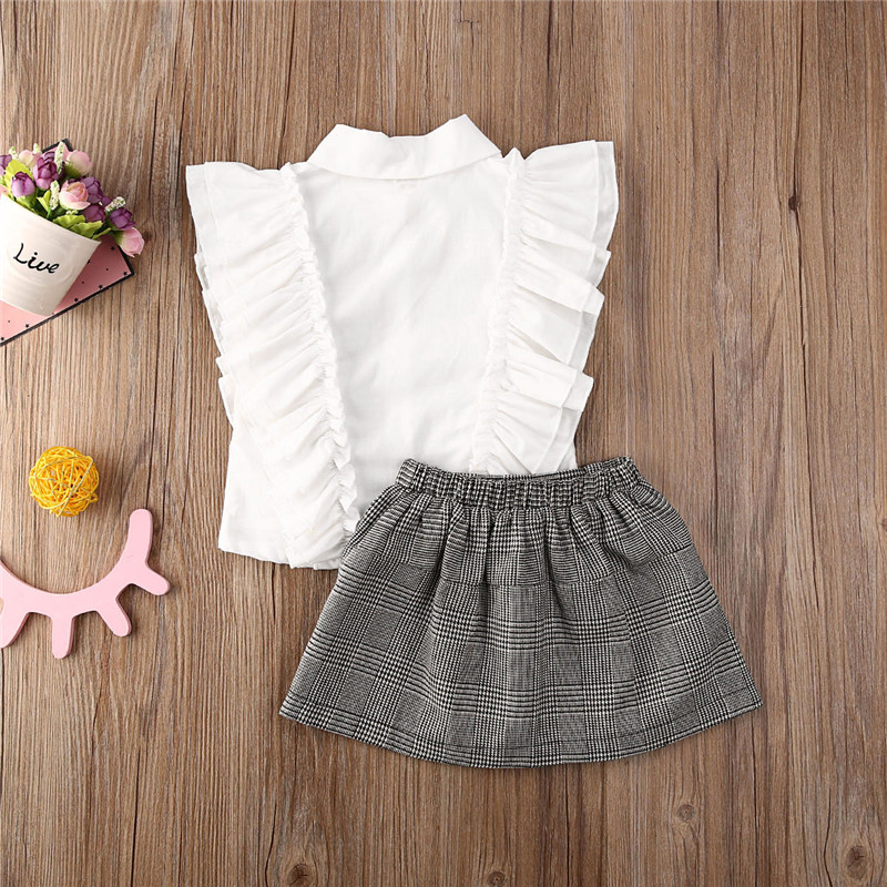 OcEaN Rufflus Bowknot Tops+Skirt Toddler Infant Baby Girls Floral Chiffon Outfits Set
