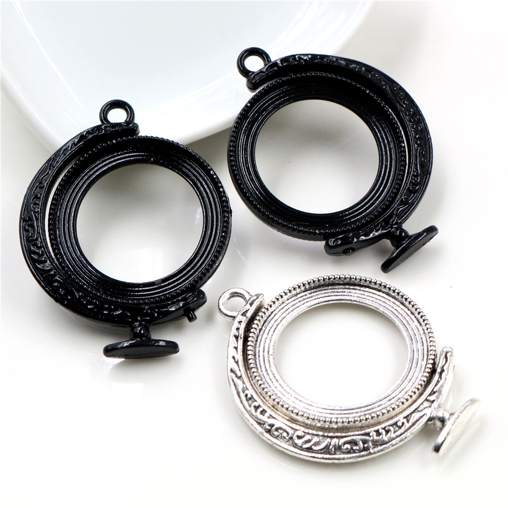 5pcs 25mm Inner Size Rotation Double Side Black Silver Colors Cameo Cabochon Base Setting Charms New Fashion Pendant