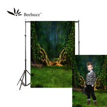 Beebuzz photo backdrop fantasy forest backgroung night green trees lawn childrens photography photophone