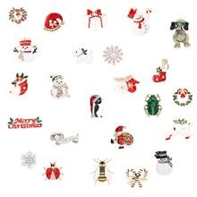 snowman elk  gifts box gloves penguin Santa pins brooches enamel cartoon red hat merry christmas brooch party