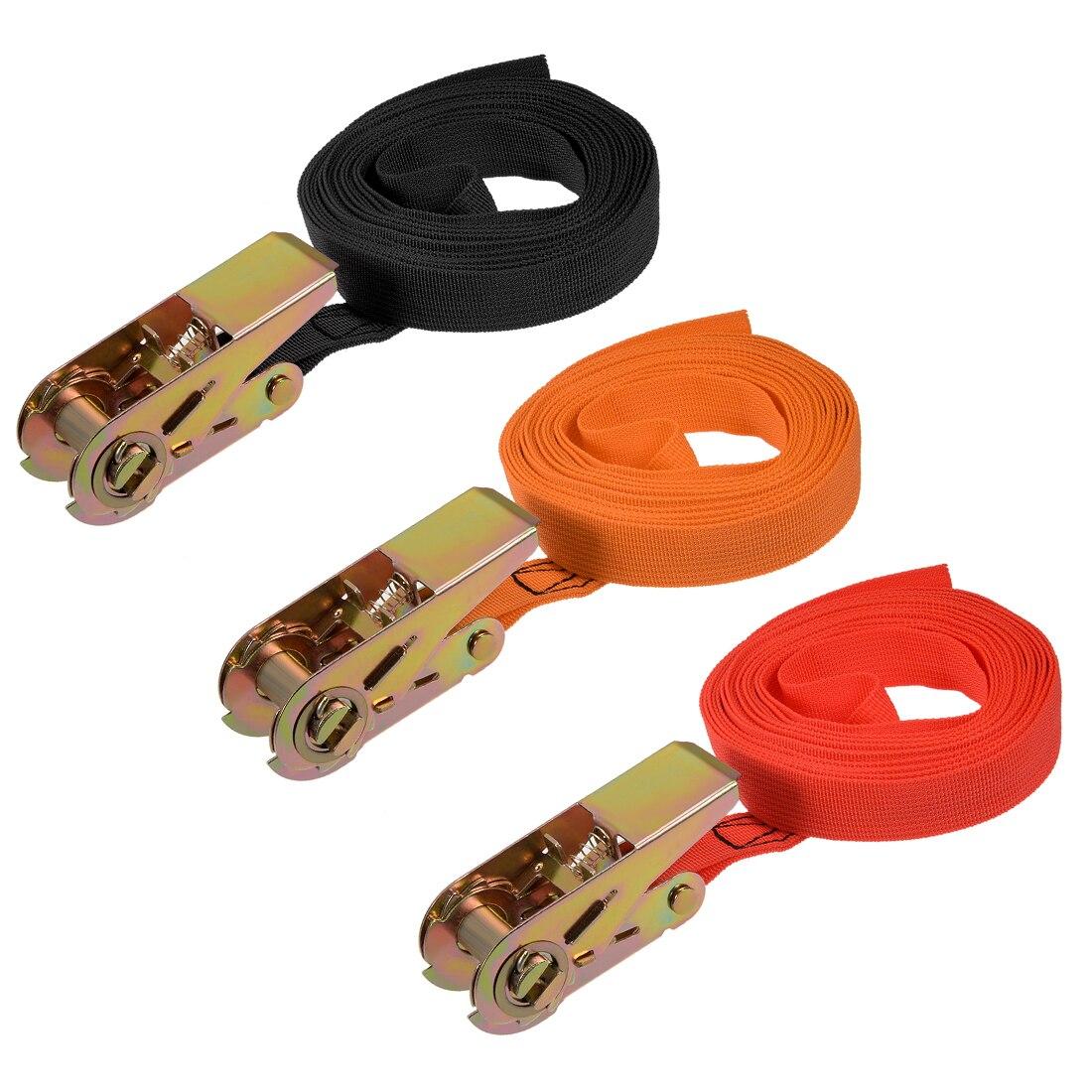 Uxcell 1pcs 25mm Width Ratchet Tie Down Strap Cargo Lashing Straps Up To 250Kg Long 4.5M 5M 5.5M 6M 7M 8M 9M 10M 5 Colors
