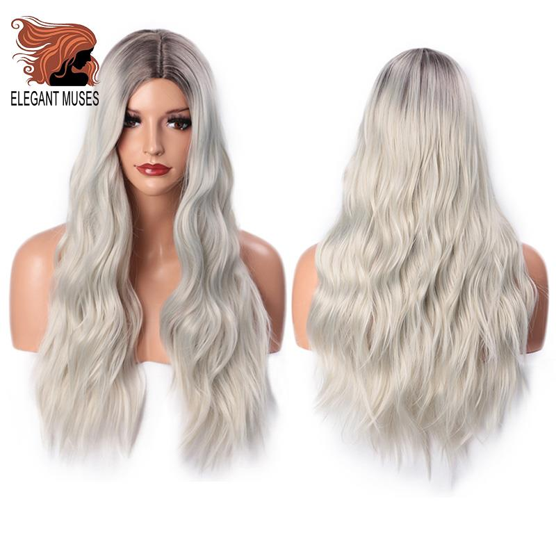 ELEGANT MUSES Long Wavy Platinum Blonde Wig Ombre Blonde Synthetic Wigs For Women 24 Inches Two Tone Natural Middle Part Wig
