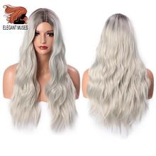 ELEGANT MUSES Long Wavy Platinum Blonde Wig Ombre Blonde Synthetic Wigs