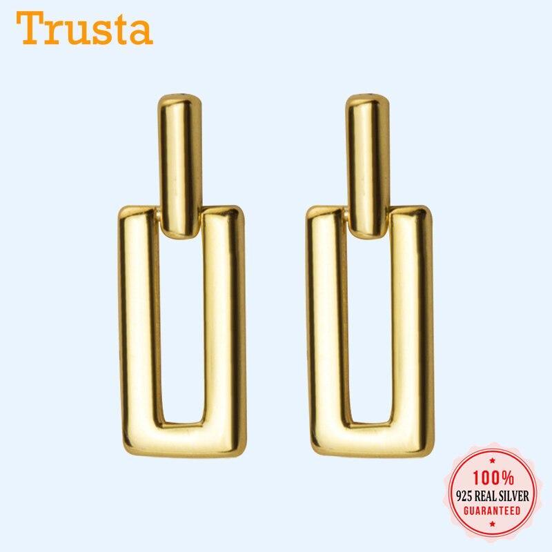 Trustdavis 100% 925 Sterling Sweet Cute Hollow Rectangle Stud Earrings Gift For Women Girls Kids Lady Silver 925 Jewelry DA455