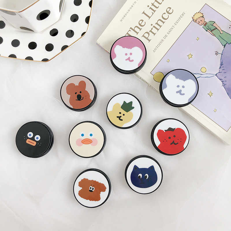 Korea Brunch Brother Cute Cartoon Round Universal Mobile Phone Ring Holder Airbag Gasbag Fold Stand Bracket Mount for IPhone